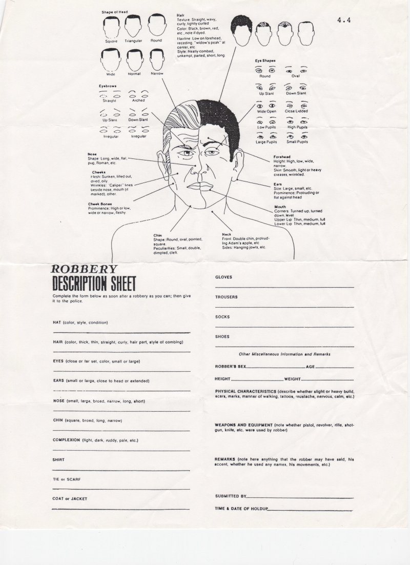 robbery description sheet small Robbery Suspect Form
